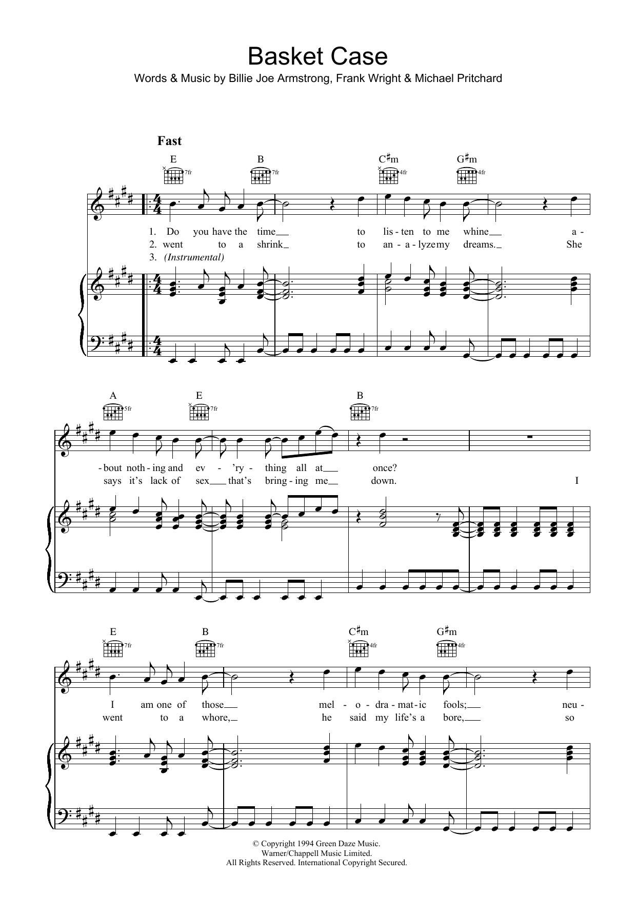 Basket Case (Piano, Vocal & Guitar)
