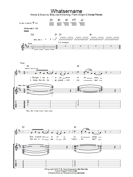 Whatsername Sheet Music