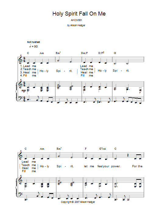 Holy Spirit Fall On Me (Piano, Vocal & Guitar)