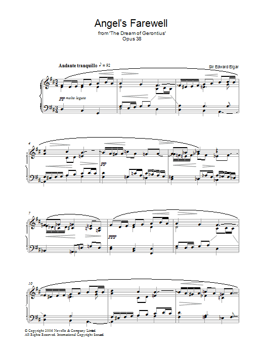 Angel's Farewell From The Dream Of Gerontius Op.38 (Piano Solo)