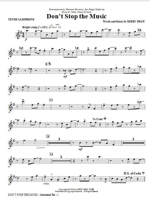 Don't Stop The Music - Bb Tenor Saxophone (Choir Instrumental Pak)