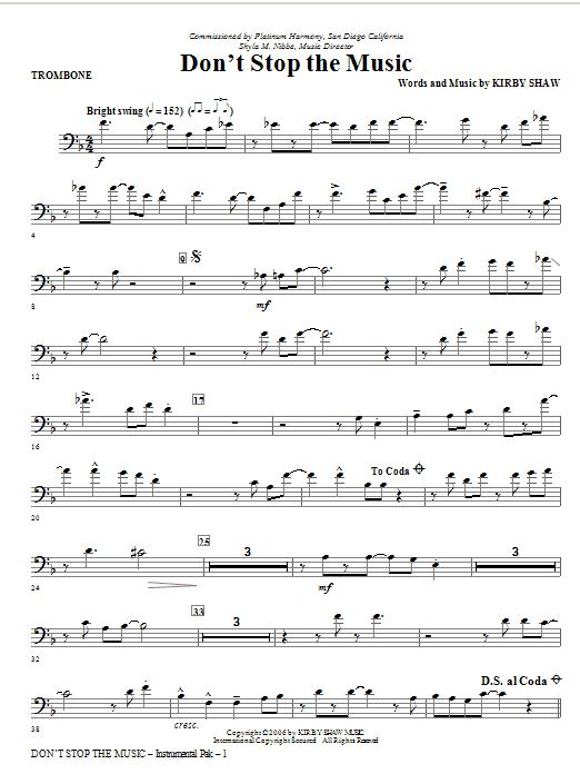 Don't Stop The Music - Trombone Sheet Music