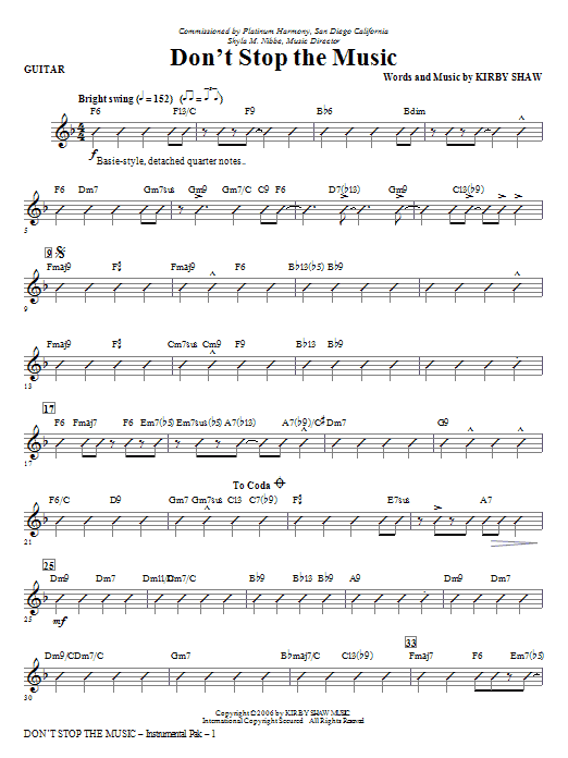 Don't Stop The Music - Guitar Sheet Music