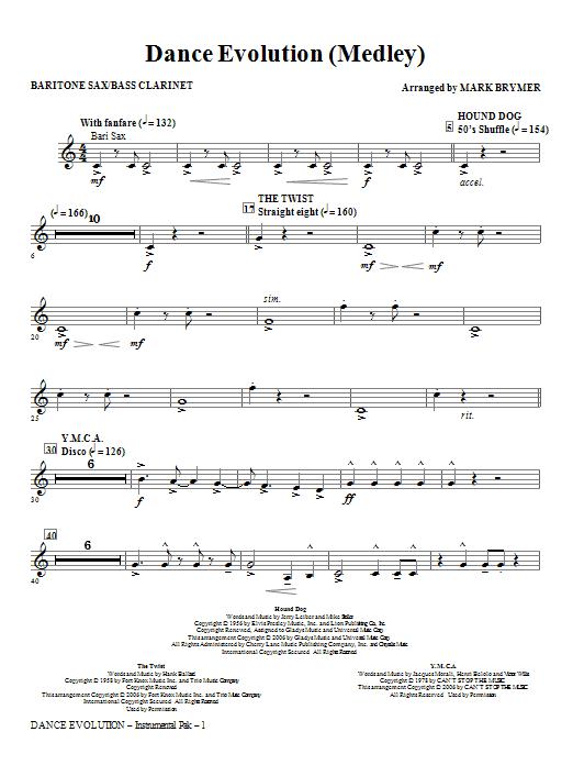 Dance Evolution (Medley) - Baritone Sax (Bass Clar.) Sheet Music