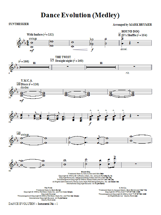 Dance Evolution (Medley) - Synthesizer Sheet Music