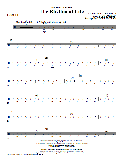 The Rhythm Of Life - Drum Set Sheet Music