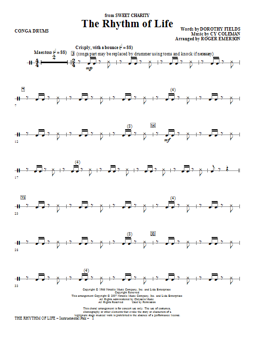 The Rhythm Of Life - Congas Sheet Music
