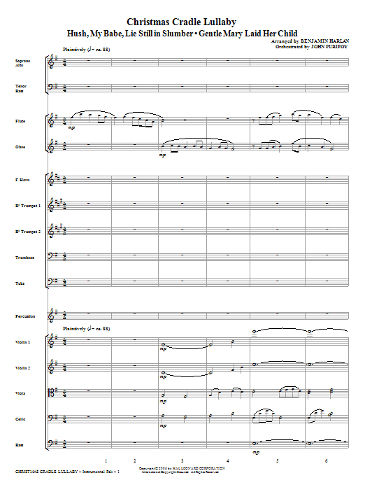 Christmas Cradle Lullaby (COMPLETE) sheet music for orchestra/band (Orchestra) by Benjamin Harlan. Score Image Preview.