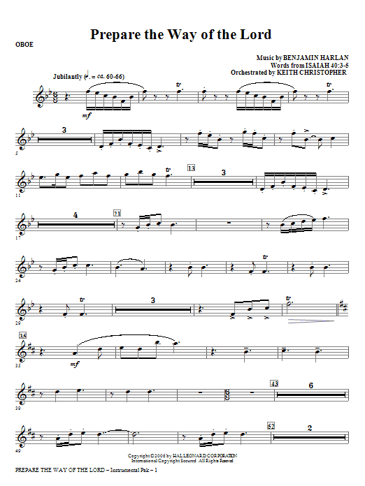Prepare The Way Of The Lord - Oboe (Choir Instrumental Pak)