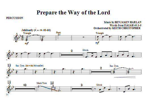 Prepare The Way Of The Lord - Percussion Sheet Music