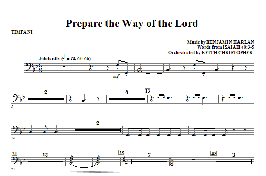 Prepare The Way Of The Lord - Timpani Sheet Music