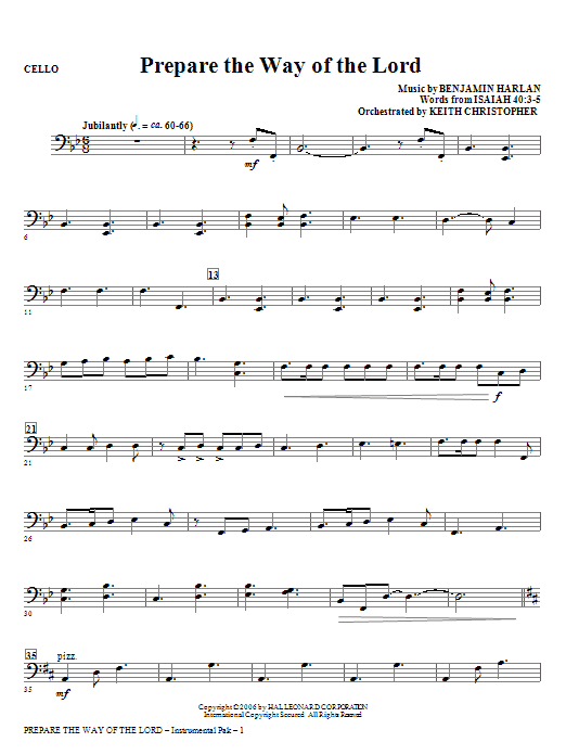 Prepare The Way Of The Lord - Cello Sheet Music