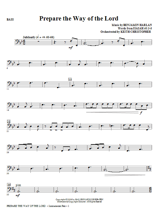 Prepare The Way Of The Lord - Bass Sheet Music