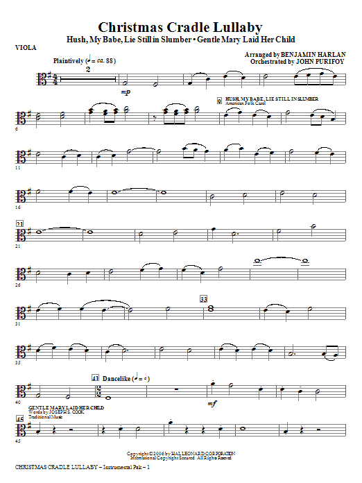 Christmas Cradle Lullaby - Viola Sheet Music