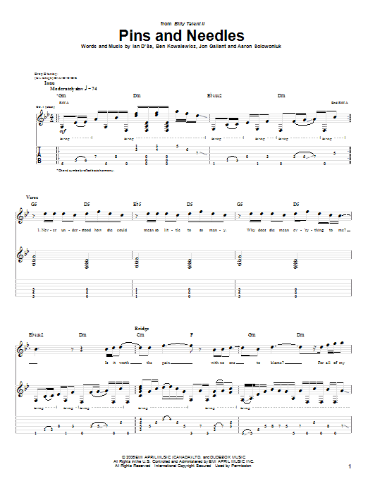 Pins And Needles Sheet Music