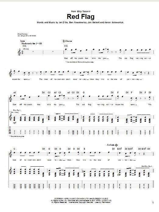 Tablature guitare Red Flag de Billy Talent - Tablature Guitare
