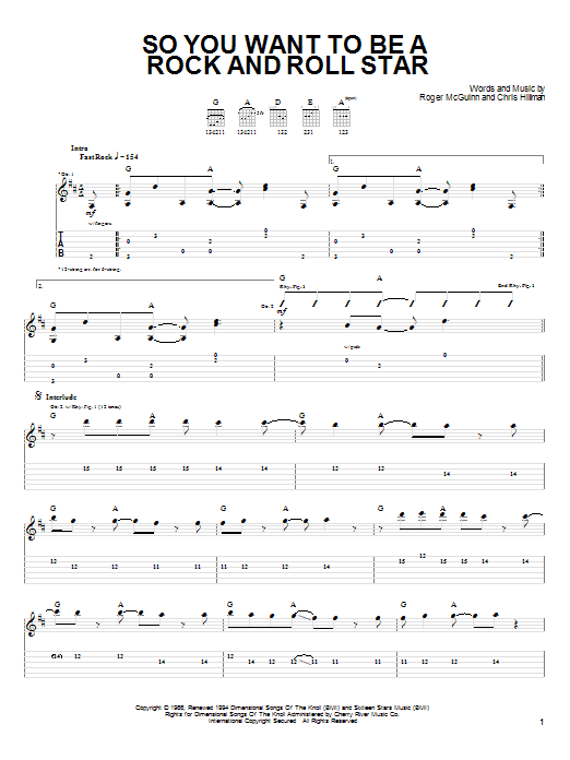 Tablature guitare So You Want To Be A Rock And Roll Star de The Byrds - Tablature guitare facile