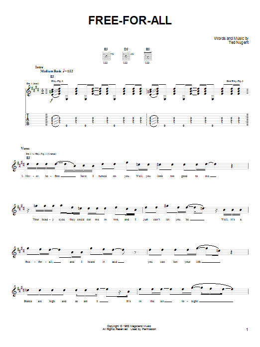 Free-For-All (Easy Guitar Tab)