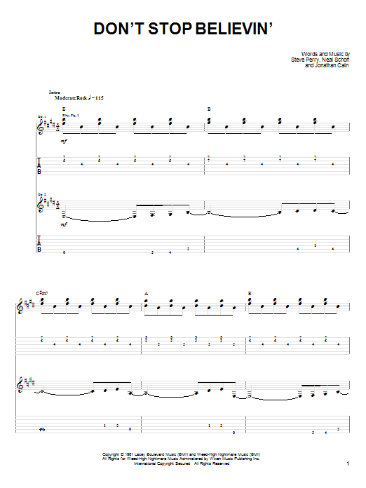Don\'t Stop Believin\' | Journey | Easy Guitar Tab