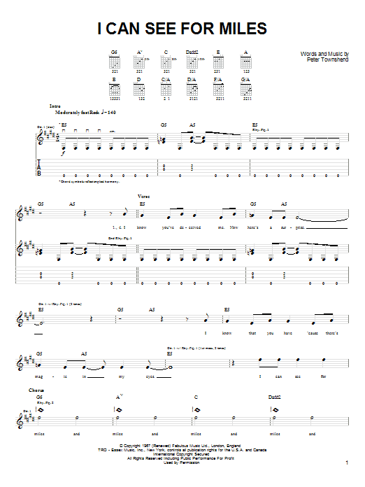 I Can See For Miles (Easy Guitar Tab)