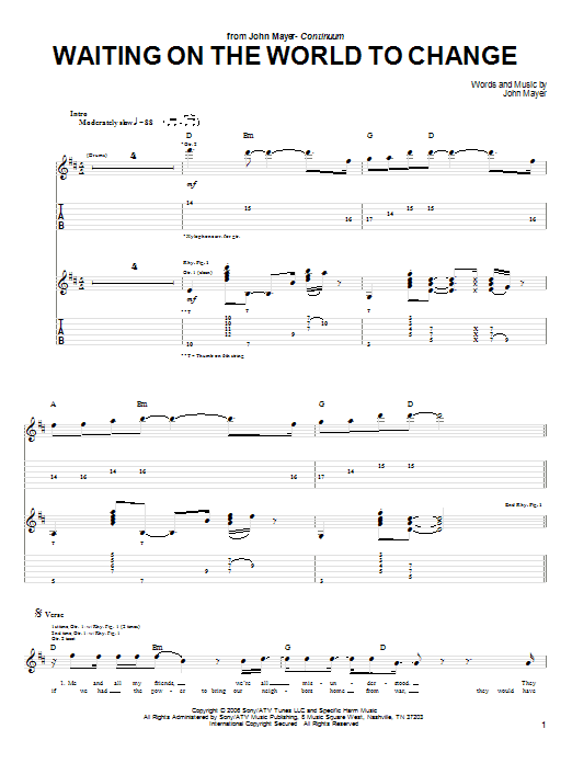 Waiting On The World To Change | Sheet Music Direct