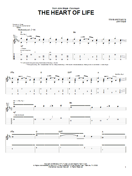 Tablature guitare The Heart Of Life de John Mayer - Tablature Guitare