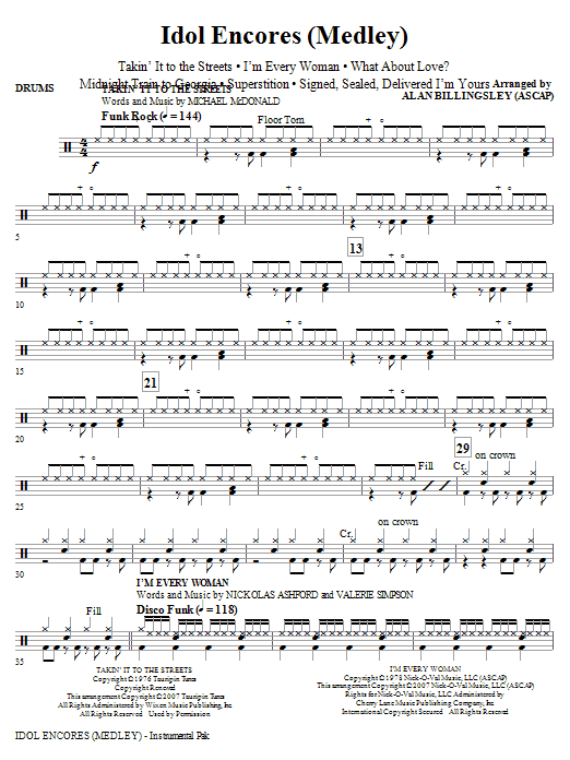 Idol Encores (Medley) - Drums Sheet Music