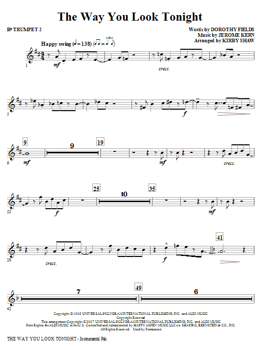 The Way You Look Tonight - Bb Trumpet 2 Sheet Music