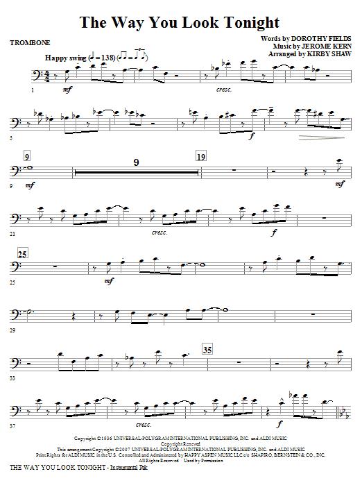 The Way You Look Tonight - Trombone (Choir Instrumental Pak)