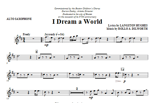 I Dream A World (from Trilogy Of Dreams) (complete set of parts) sheet music for orchestra/band (Strings) by Rollo Dilworth and Langston Hughes. Score Image Preview.