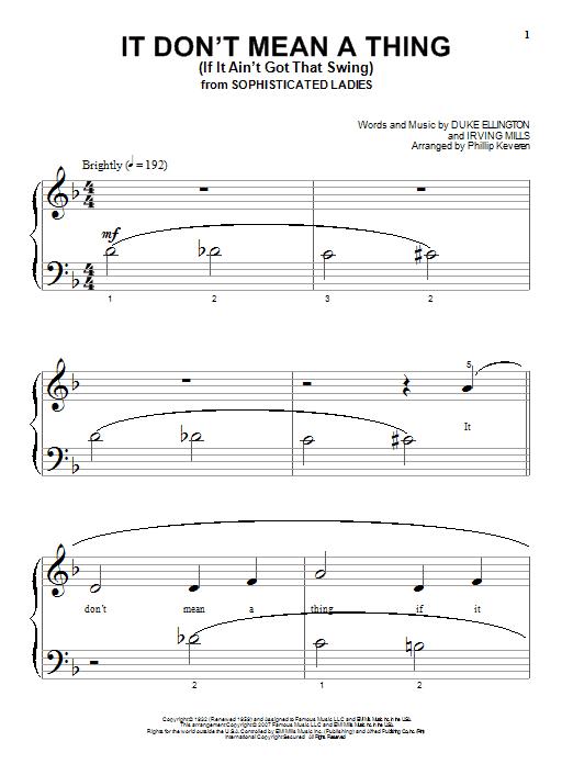 Partition piano It Don't Mean A Thing (If It Ain't Got That Swing) de Duke Ellington - Piano Solo