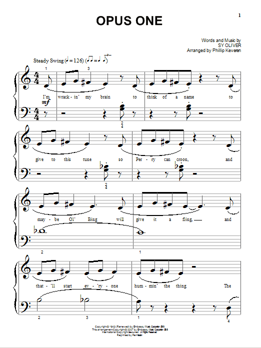 Opus One Sheet Music