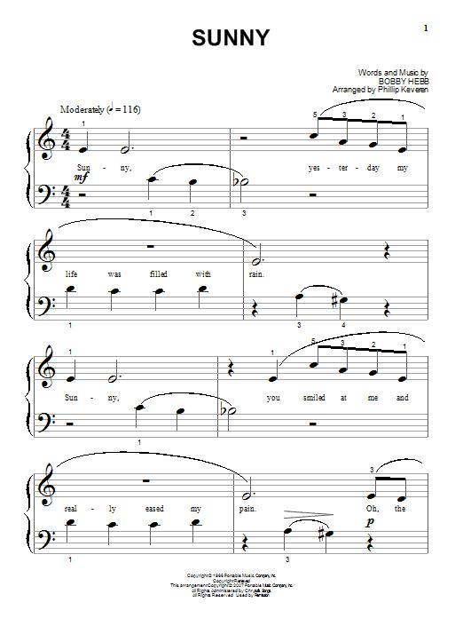 Partition piano Sunny de Bobby Hebb - Piano Solo