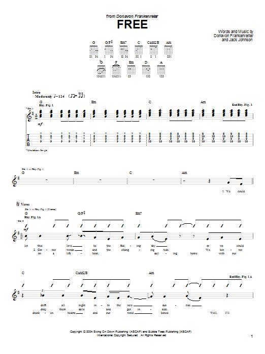 Tablature guitare Free de Donavon Frankenreiter - Tablature Guitare