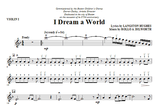 I Dream A World (from Trilogy Of Dreams) - Violin 1 Sheet Music