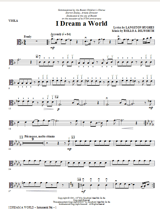 I Dream A World (from Trilogy Of Dreams) - Viola Sheet Music