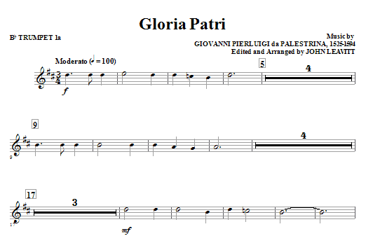 Gloria Patri Bb Trumpet 1a Sheet Music Direct