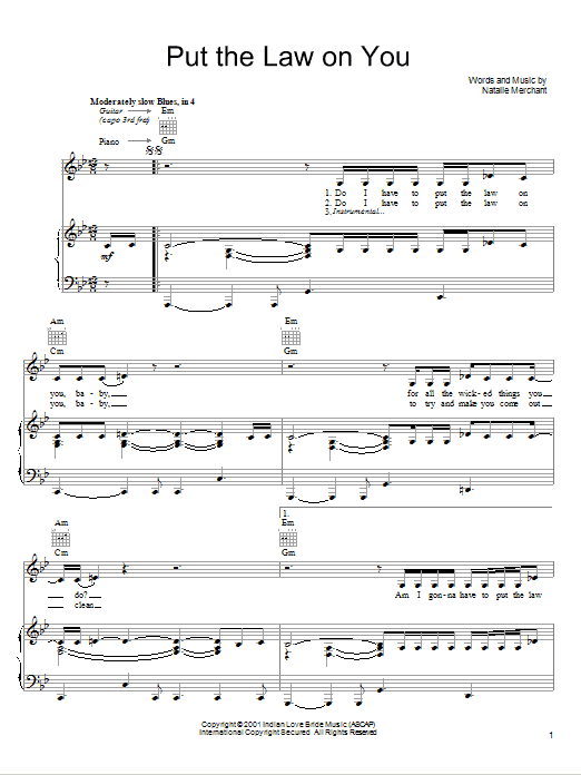 Put The Law On You (Piano, Vocal & Guitar (Right-Hand Melody))
