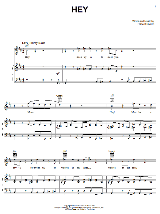 Hey (Piano, Vocal & Guitar (Right-Hand Melody))