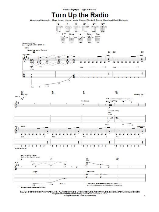 Tablature guitare Turn Up The Radio de Autograph - Tablature Guitare