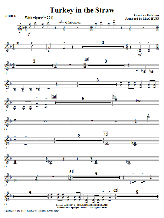 Turkey In The Straw (complete set of parts) sheet music for orchestra/band (Special) by Mac Huff and Miscellaneous. Score Image Preview.