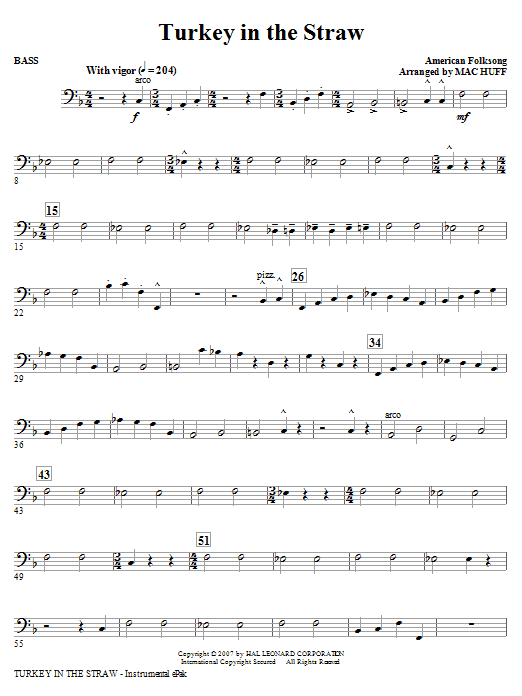 Turkey In The Straw - Bass Sheet Music