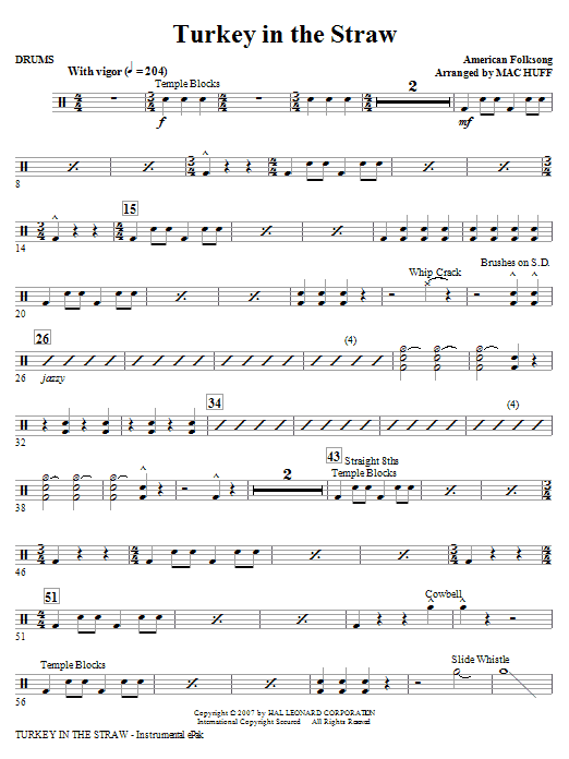 Turkey In The Straw - Drums Sheet Music
