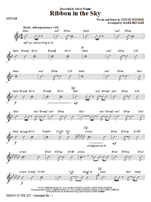 Ribbon In The Sky - Guitar Sheet Music