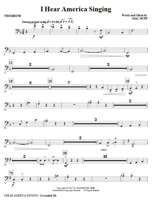 I Hear America Singing - Trombone Sheet Music