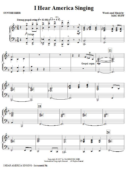 I Hear America Singing - Synthesizer Sheet Music