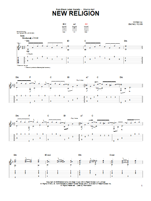 Tablature guitare New Religion de Black Label Society - Tablature Guitare