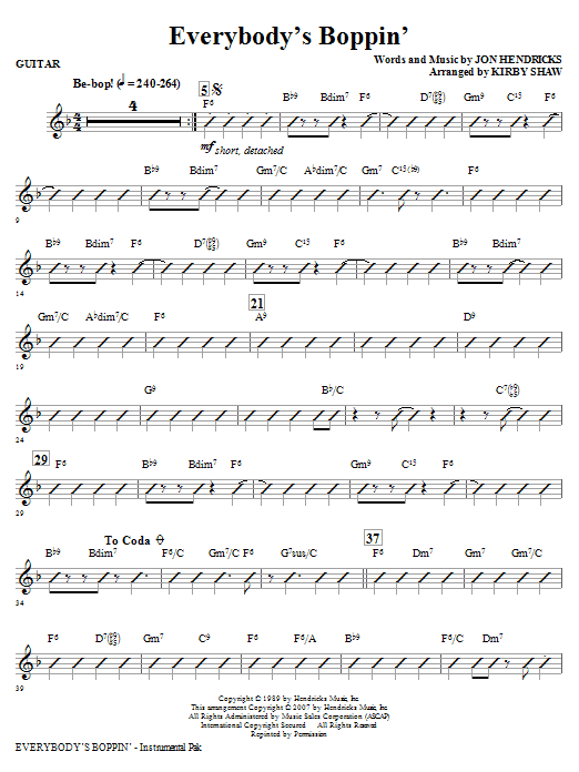 Everybody's Boppin' - Guitar Sheet Music