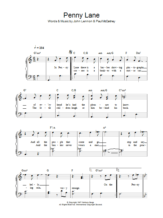 Penny Lane (Piano, Vocal & Guitar)