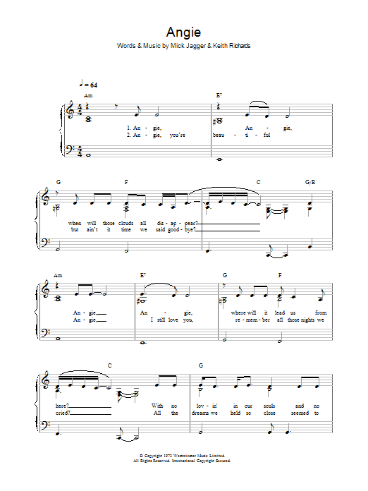 Angie (Piano, Vocal & Guitar)
